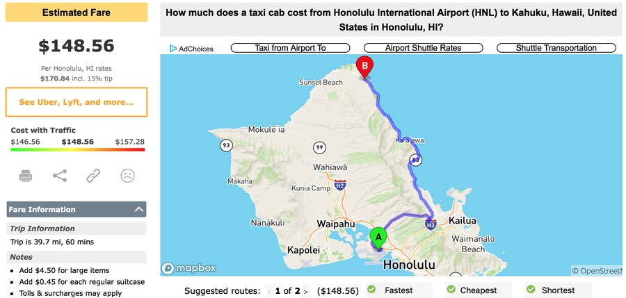 honolulu-airport-to-kahuku-taxi